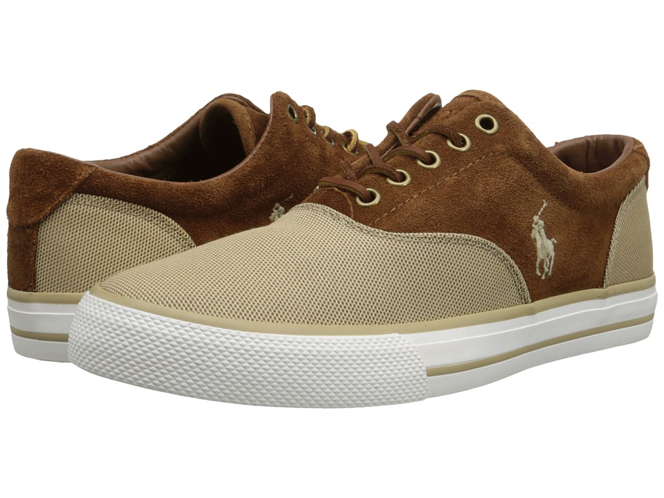 Polo Ralph Lauren - Vaughn Saddle (Khaki Pique Nylon/Sport Suede) Men's Lace up casual Shoes