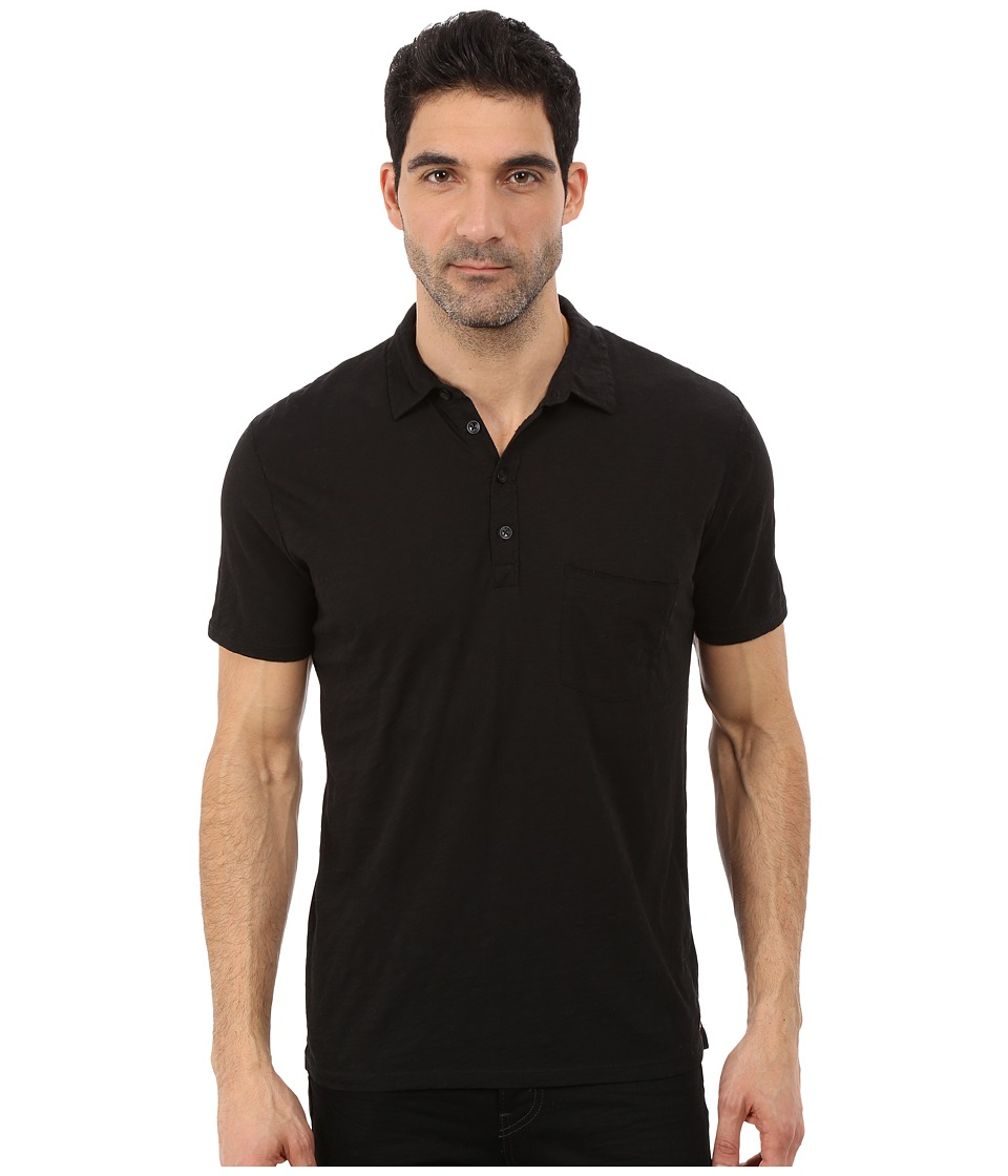 7 For All Mankind - Raw Placket Polo (Black) Men's Short Sleeve Pullover