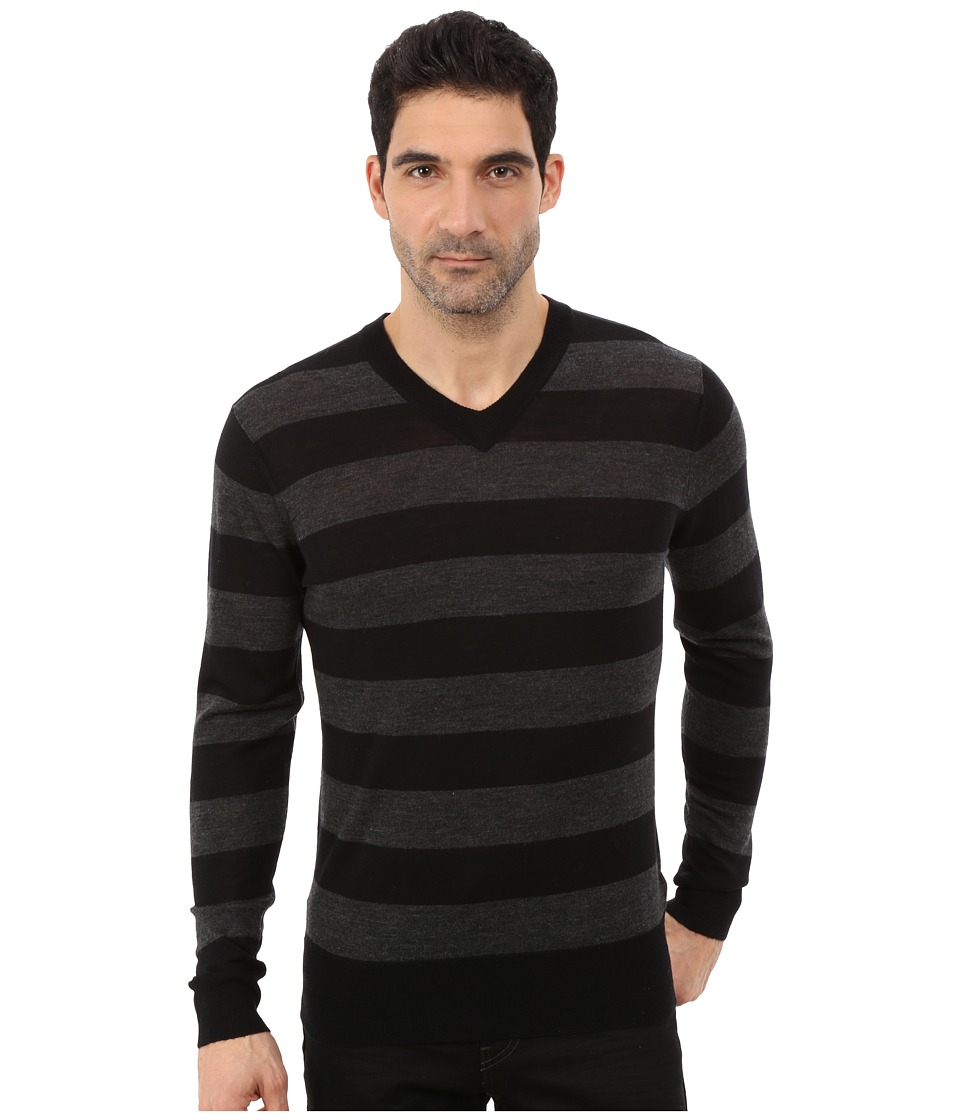 7 For All Mankind - Long Sleeve V-Neck Stripe Sweater (Charcoal/Black) Men