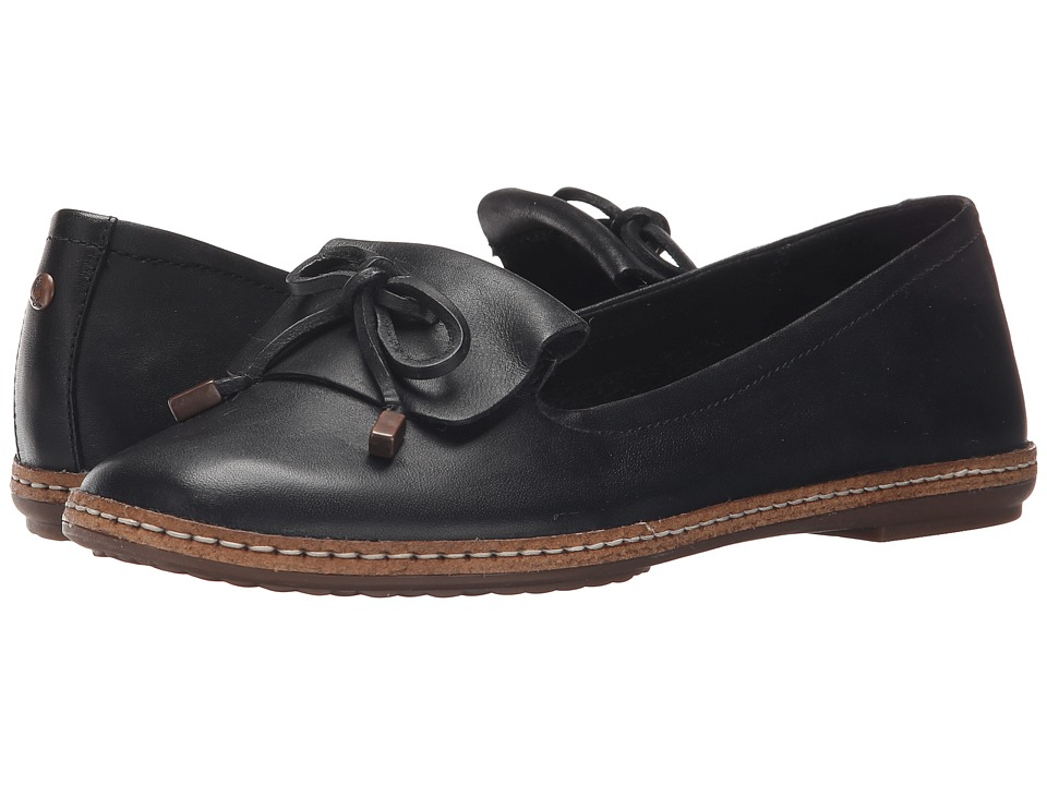 Hush Puppies - Adena Piper (Black Leather) Women's Slip on Shoes