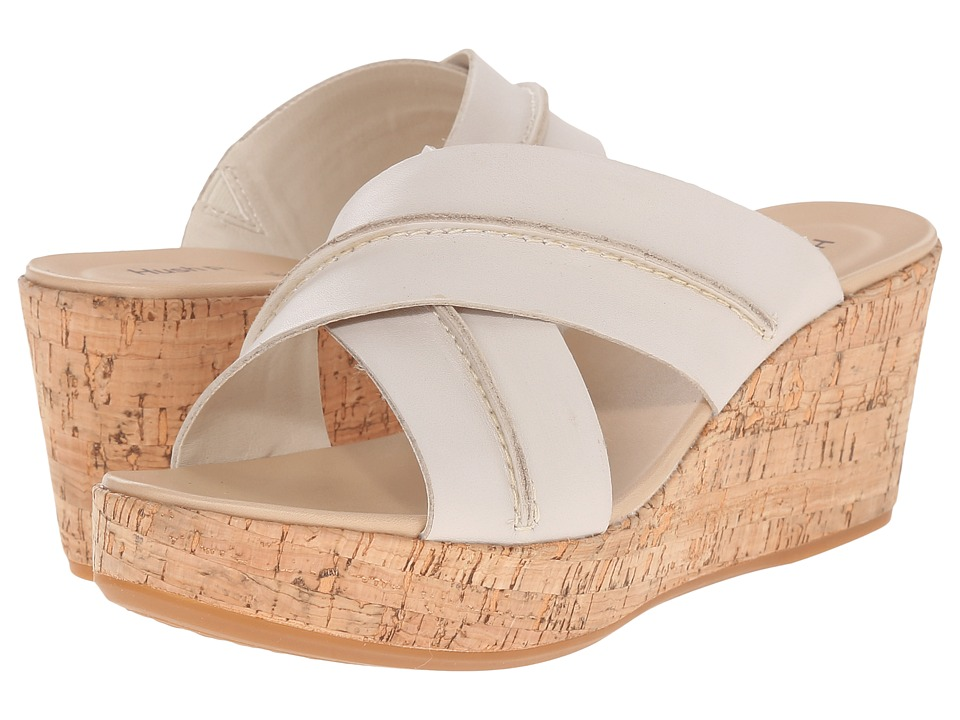 Hush Puppies - Belinda Durante (Off-White Leather) Women's Wedge Shoes