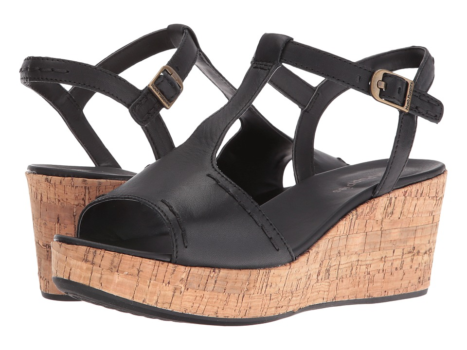 Hush Puppies - Blakely Durante (Black Leather) Women's Wedge Shoes