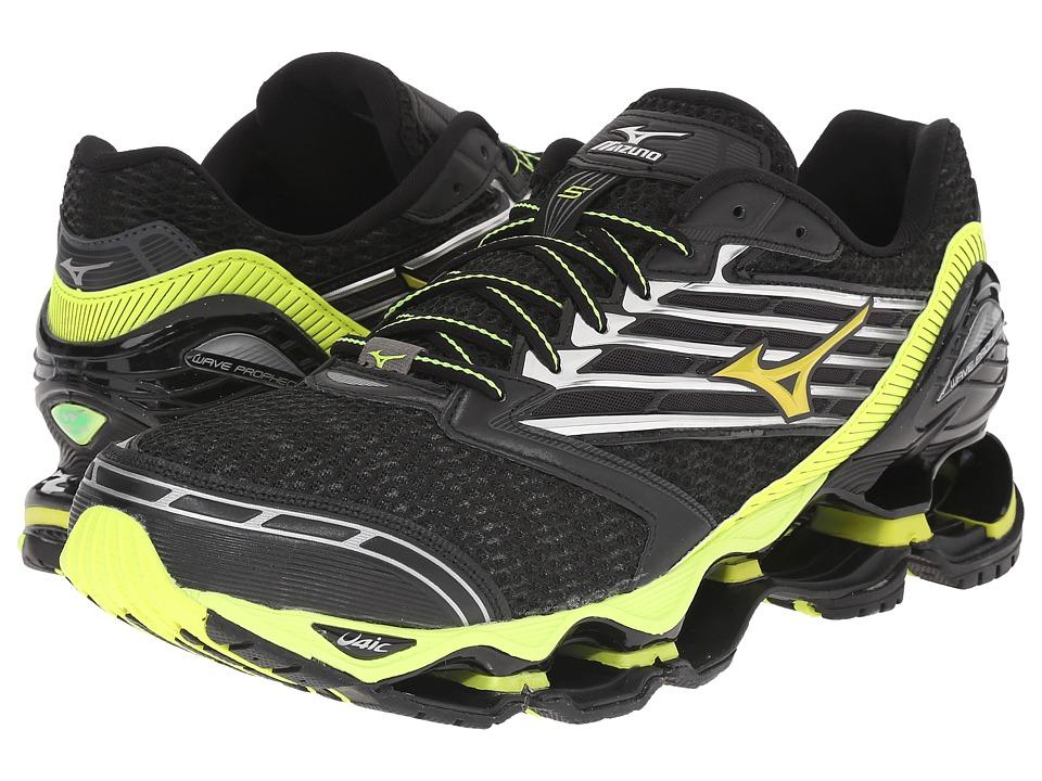 Mizuno - Wave Prophecy 5 (Black/Safety Yellow/Silver) Men's Running Shoes