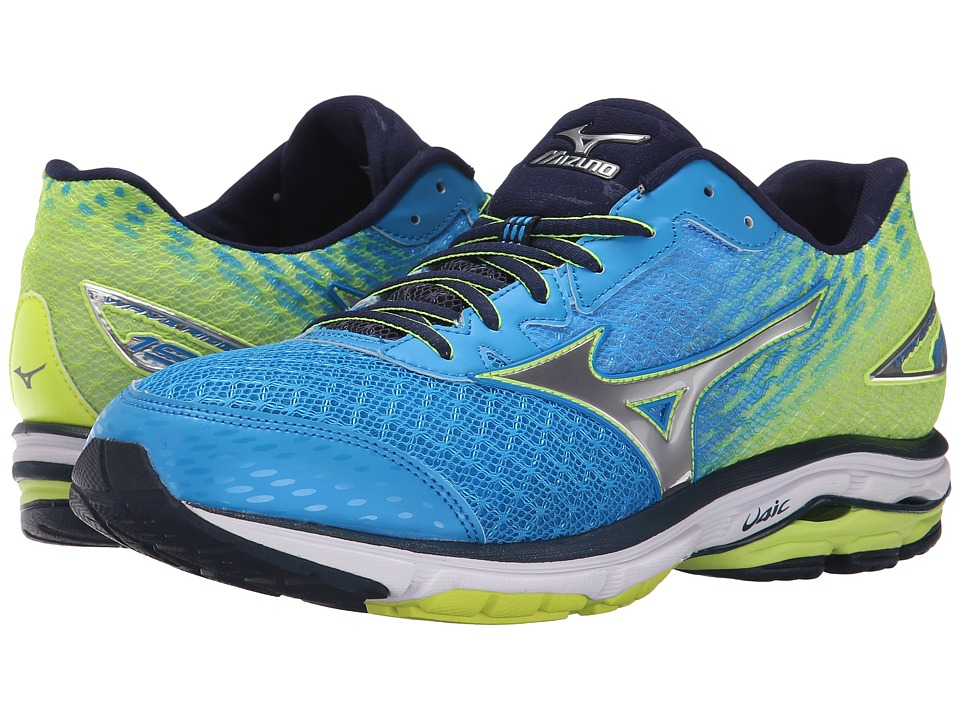Mizuno - Wave Rider 19 (Dude Blue/Silver/Safety Yellow) Men's Running Shoes