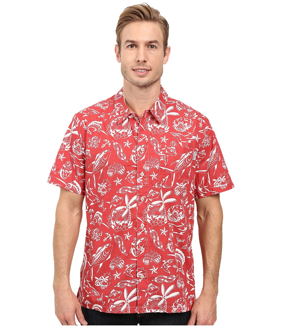 Columbia - Trollers Best S/S Shirt (Sunset Red Offshore Print) Men's Short Sleeve Button Up
