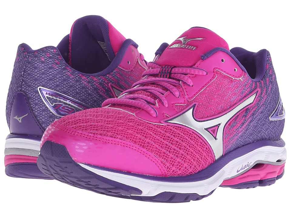 Mizuno - Wave Rider 19 (Fuchsia Purple/Silver/Royal Purple) Women's Running Shoes