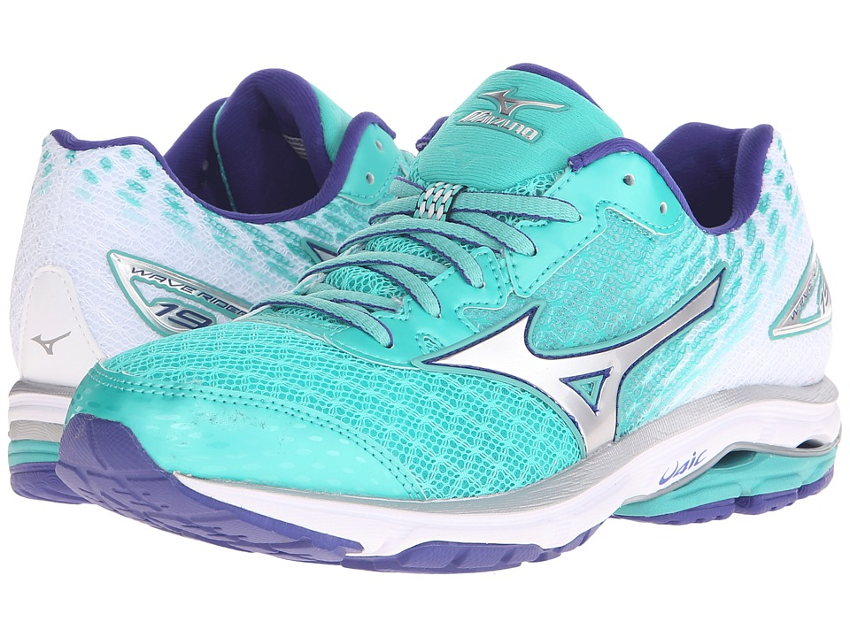 Mizuno - Wave Rider 19 (Atlantis/Silver/Clematis Blue) Women's Running Shoes