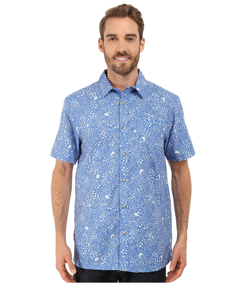 Columbia - Super Slack Tide Camp Shirt (Vivid Blue Jungle Fish Print) Men's Short Sleeve Button Up
