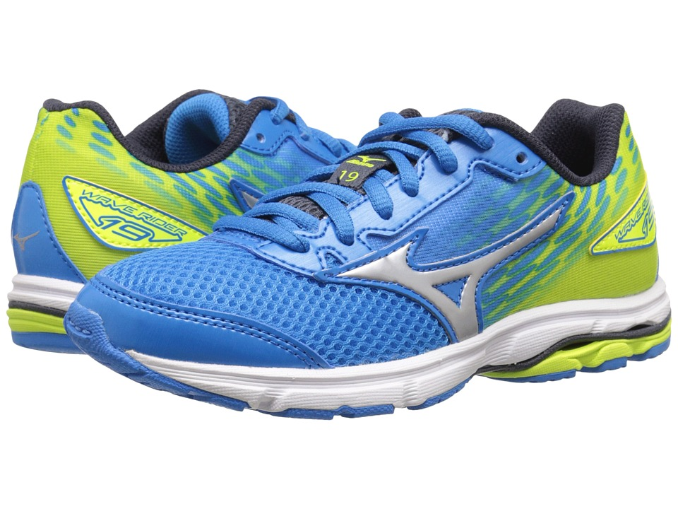 Mizuno - Wave Rider (Little Kid/Big Kid) (Dude Blue/Silver/Safety Yellow) Men's Running Shoes