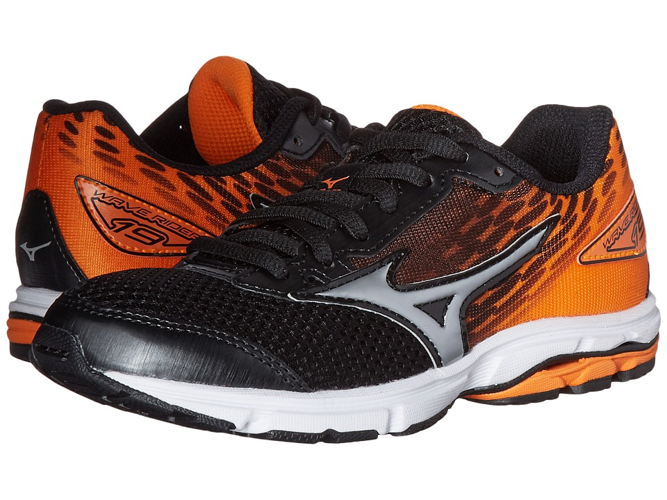 Mizuno - Wave Rider (Little Kid/Big Kid) (Black/Silver/Vibrant Orange) Men's Running Shoes
