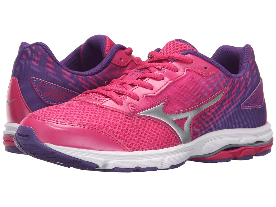 Mizuno - Wave Rider 19 (Little Kid/Big Kid) (Fuchsia Purple/Silver/Royal Purple) Women's Running Shoes
