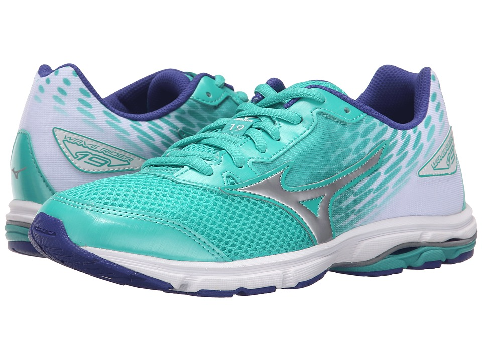 Mizuno - Wave Rider 19 (Little Kid/Big Kid) (Atlantis/Silver/Clematis Blue) Women's Running Shoes