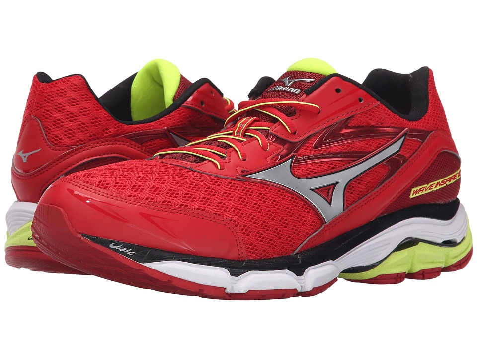 Mizuno - Wave Inspire 12 (Chinese Red/Silver/Safety Yellow) Men's Running Shoes