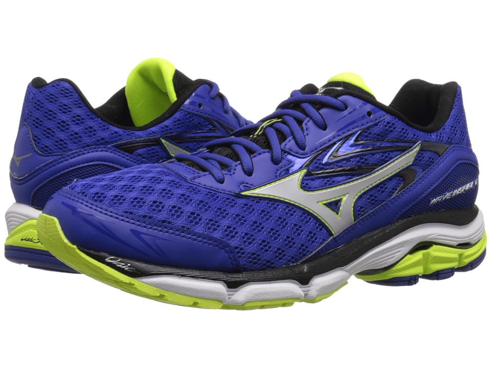 Mizuno - Wave Inspire 12 (Surf the Web/Silver/Safety Yellow) Men's Running Shoes