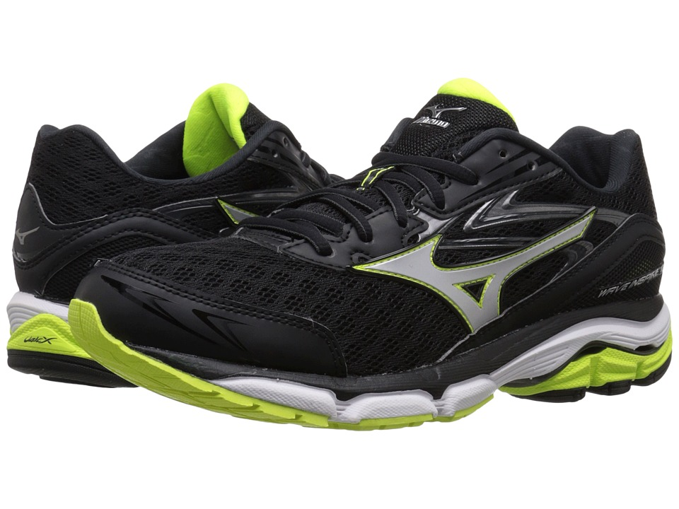 Mizuno - Wave Inspire 12 (Black/Silver/Safety Yellow) Men's Running Shoes