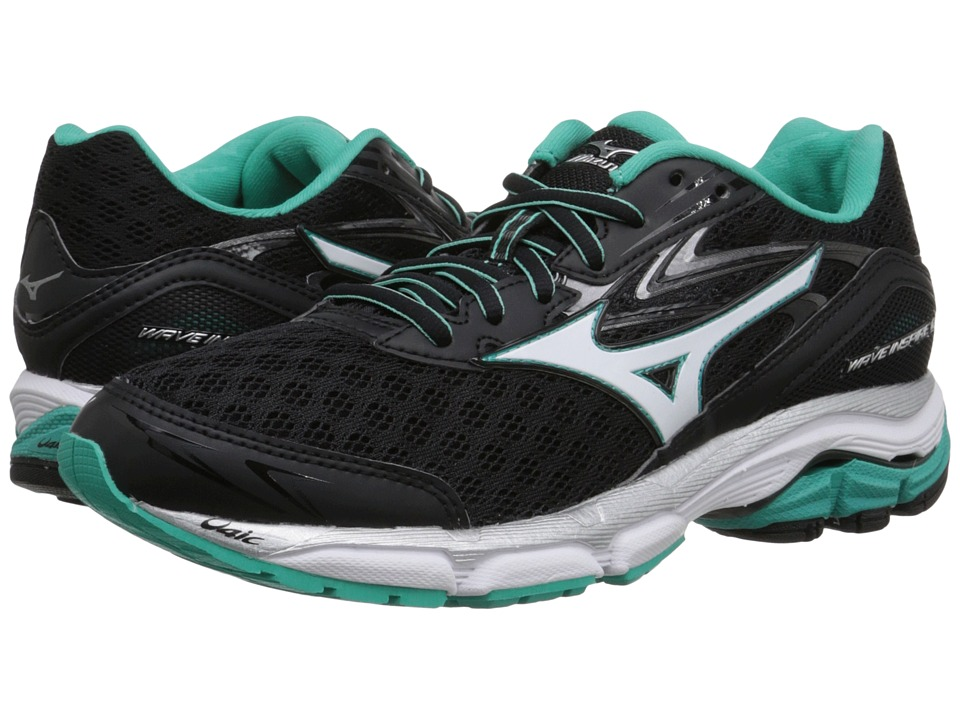 Mizuno - Wave Inspire 12 (Black/White/Atlantis) Women's Running Shoes