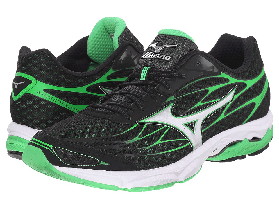 Mizuno - Wave Catalyst (Black/Silver/Irish Green) Men's Running Shoes