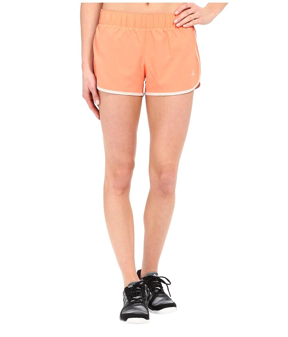 adidas - Woven 3-Stripes Shorts (Sun Glow) Women's Shorts