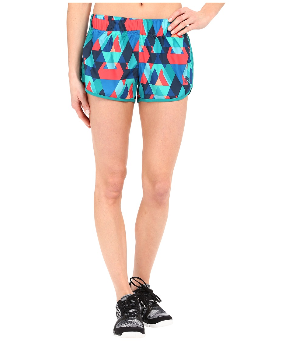 adidas - M10 Q1 Woven Graphic Shorts (EQT Green/Shock Red Print) Women's Shorts