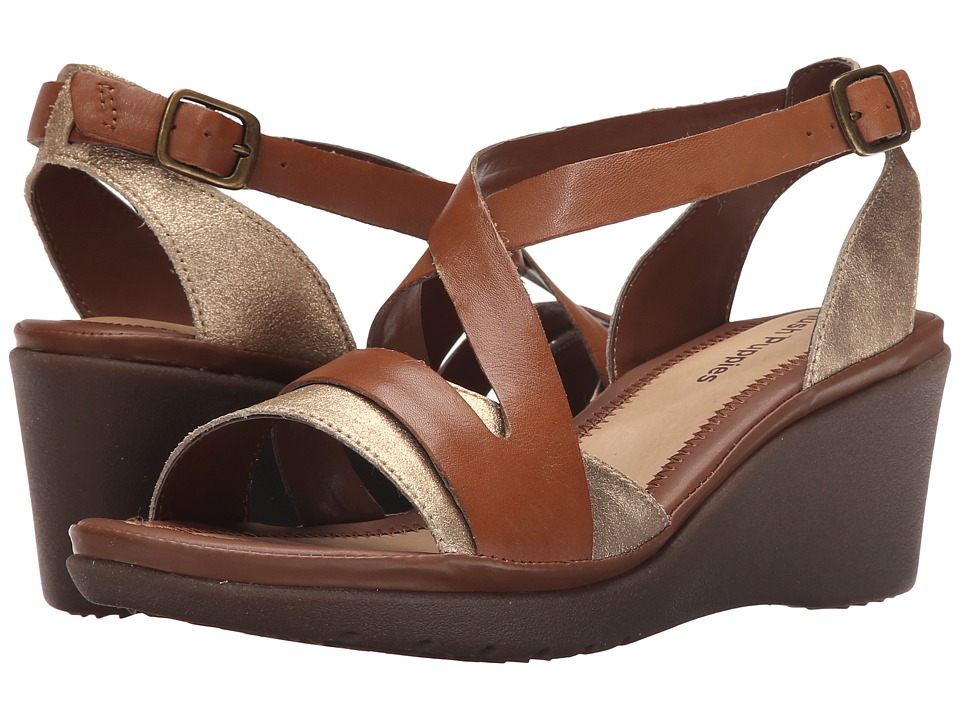 Hush Puppies - Rory Russo (Tan Leather/Metallic Suede) Women's Wedge Shoes