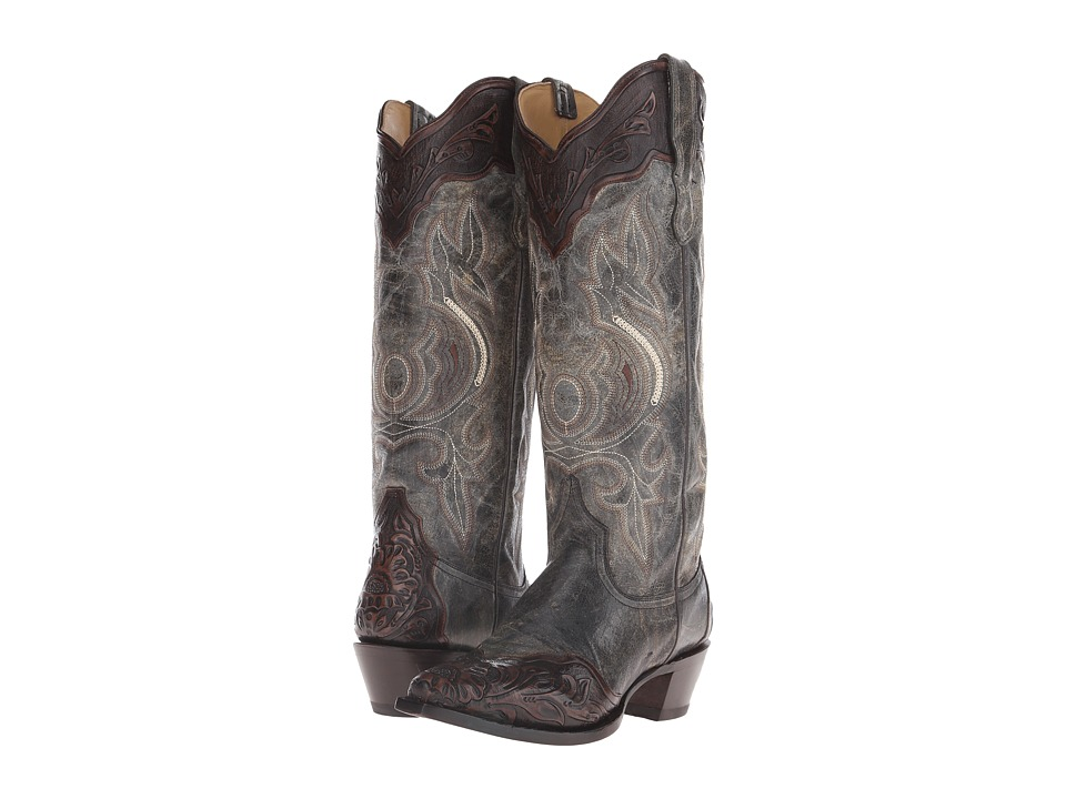 Stetson - Mila (Crackled Black Vamp) Cowboy Boots