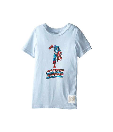 The Original Retro Brand Kids - Captain America Short Sleeve Tee (Little Kids/Big Kids) (Streaky Light Blue) Boy