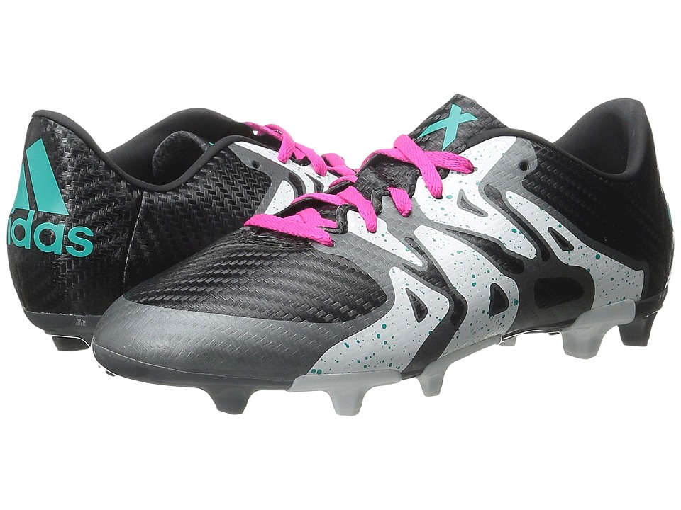 adidas Kids - X 15.3 FG/AG Soccer (Little Kid/Big Kid) (Black/Shock Mint/White) Kids Shoes