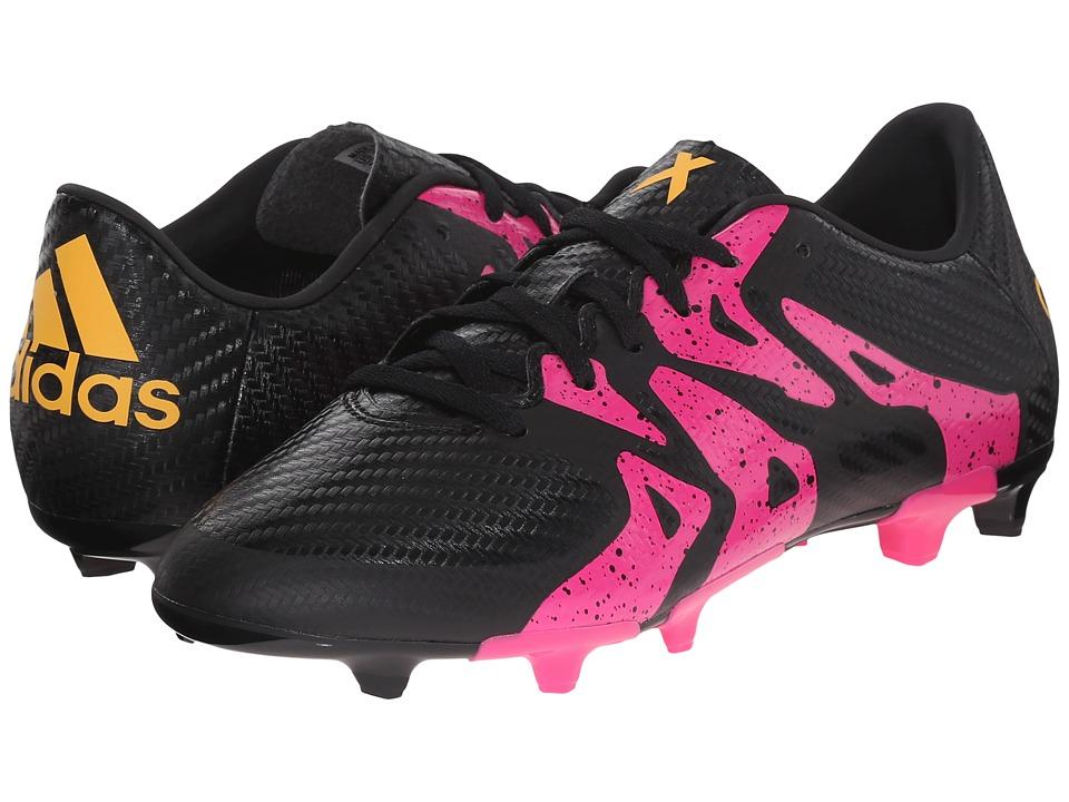 adidas Kids - X 15.3 FG/AG Soccer (Little Kid/Big Kid) (Black/Shock Pink/Solar Gold) Kids Shoes