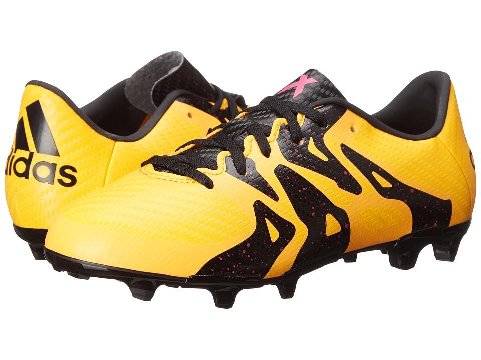 adidas Kids - X 15.3 FG/AG Soccer (Little Kid/Big Kid) (Solar Gold/Black/Shock Pink) Kids Shoes