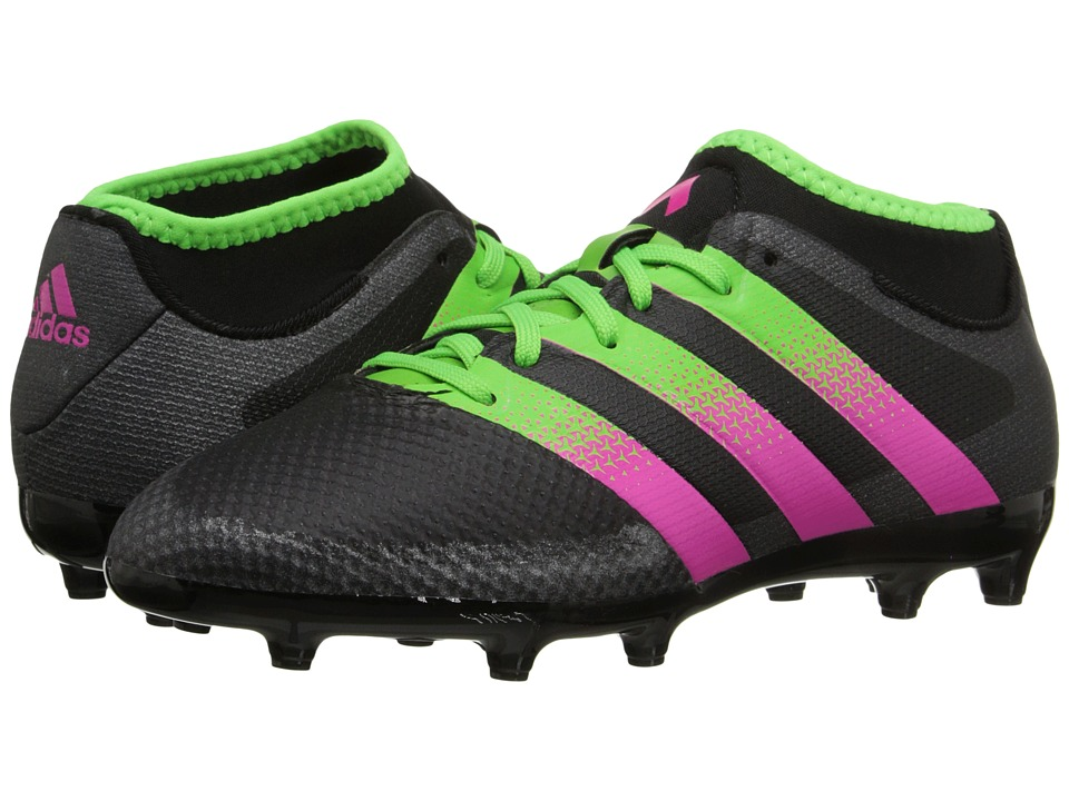 adidas Kids Ace 16.3 Primemesh FG/AG Soccer (Little Kid/Big Kid) (Black/Solar Green/Shock Pink) Kids Shoes
