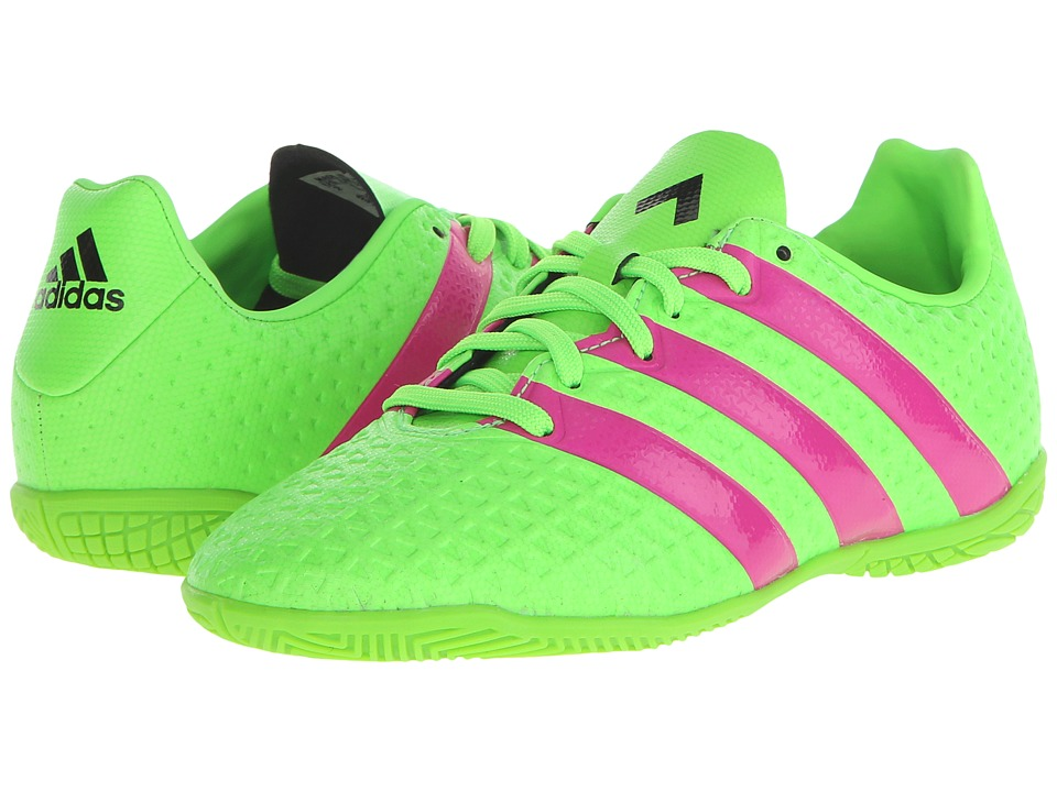adidas Kids - Ace 16.4 IN Soccer (Little Kid/Big Kid) (Solar Green/Shock Pink/Black) Kids Shoes