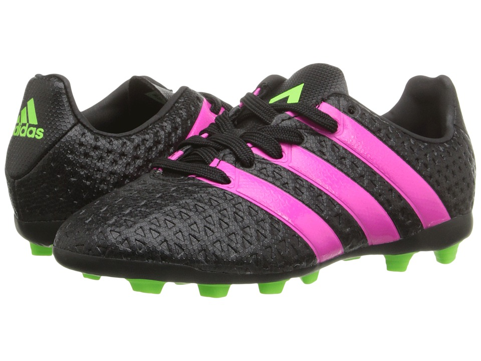 adidas Kids - ACE 16-4 FxG (Toddler/Little Kid/Big Kid) (Black/Shock Pink/Solar Green) Kids Shoes