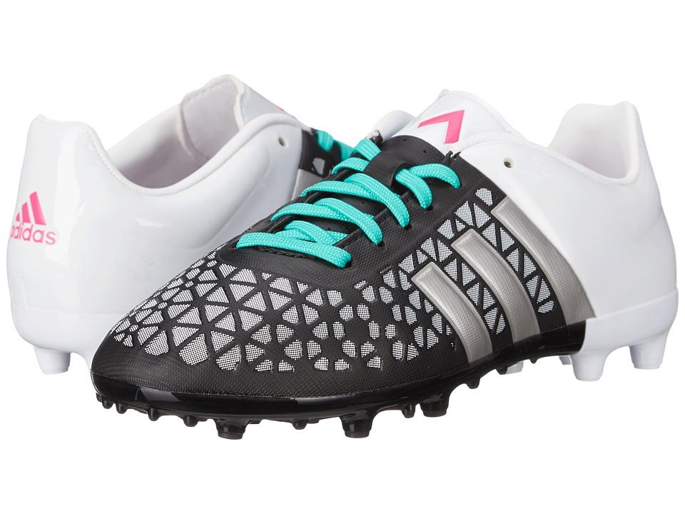 adidas Kids Ace 15.3 FG/AG (Little Kid/Big Kid) (Black/Matte Silver/Shock Mint) Kids Shoes