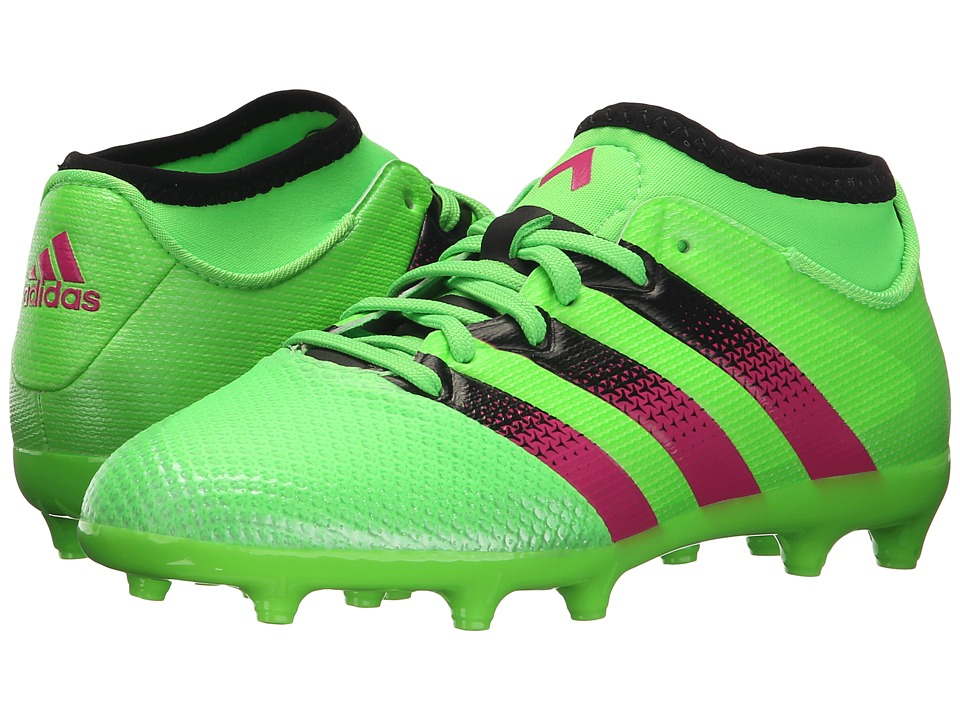 adidas Kids Ace 16.3 Primemesh FG/AG Soccer (Little Kid/Big Kid) (Solar Green/Shock Pink/Black) Kids Shoes