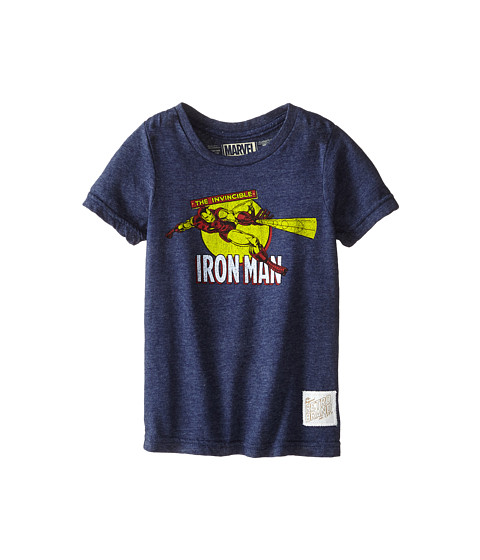 The Original Retro Brand Kids - Iron Man Short Sleeve Tee (Little Kids/Big Kids) (Streaky Navy) Boy's T Shirt