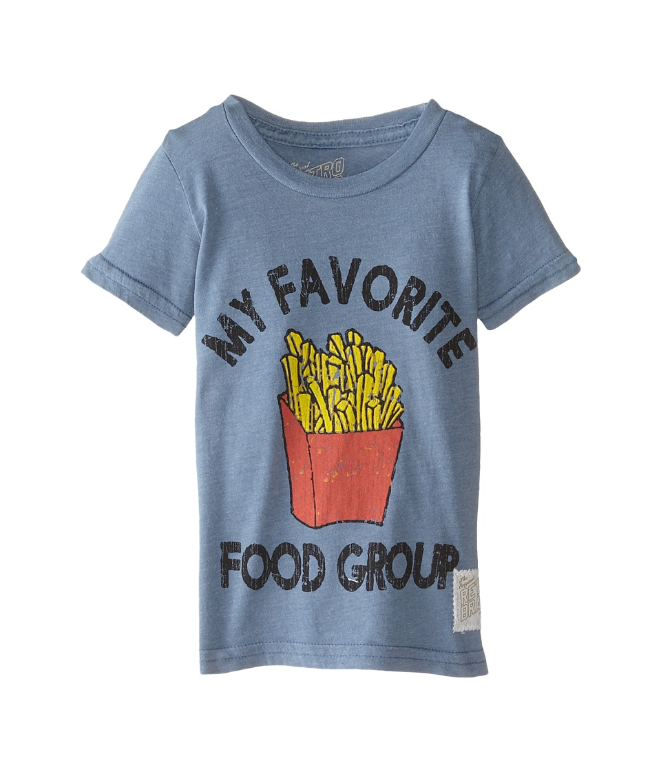 The Original Retro Brand Kids - Favorite Food Group Short Sleeve Tee (Toddler) (Heather Blue) Boy's T Shirt