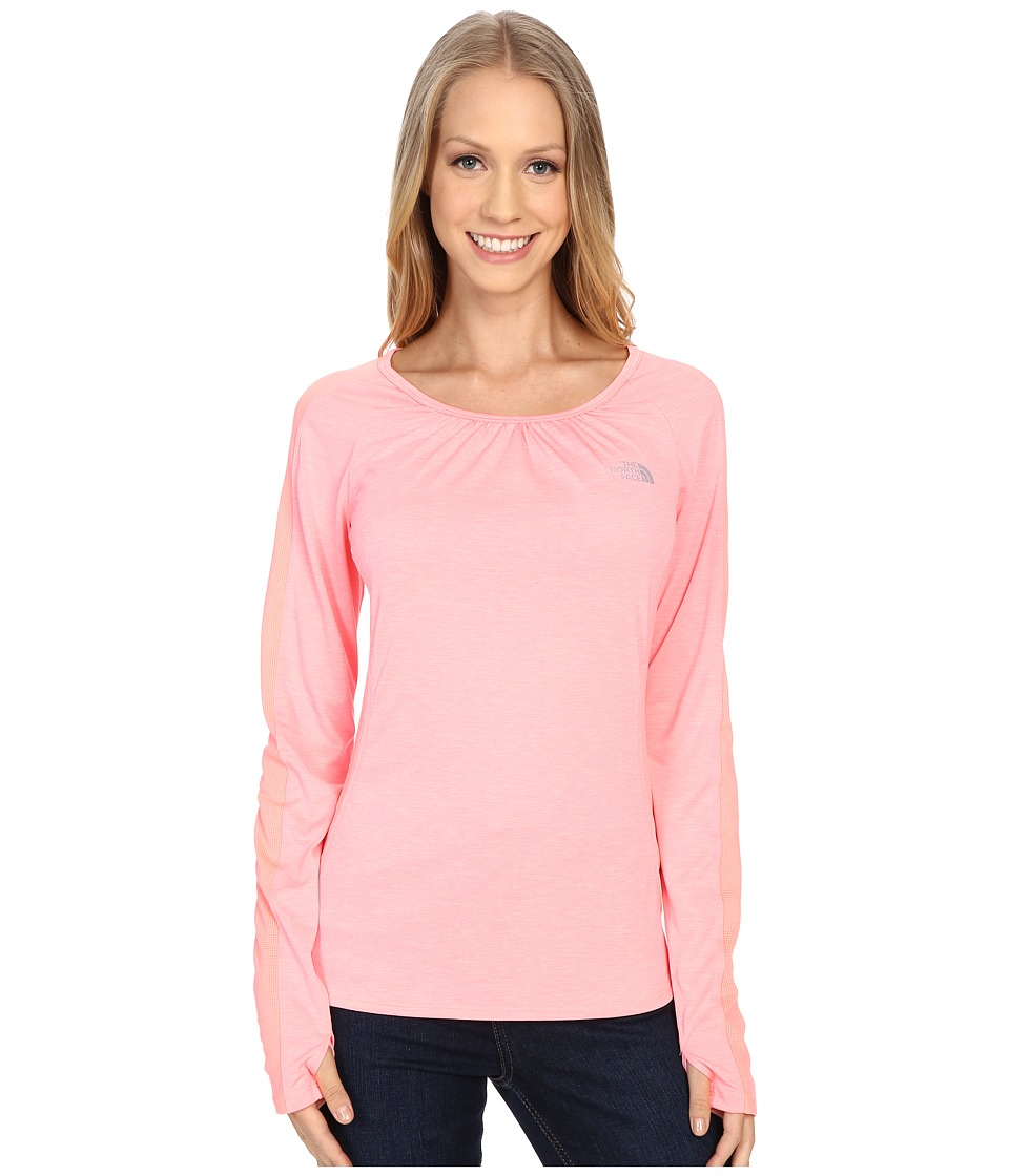 The North Face - Initiative Long Sleeve (Neon Peach Heather) Women's Long Sleeve Pullover