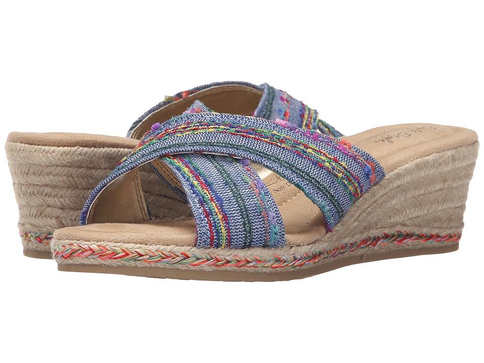 Soft Style - Sade (Denim Fringe Canvas) Women's Sandals