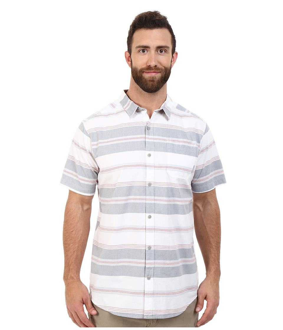 Columbia - Plus Size Thompson Hill II Yarn Dye Shirt (Grey Ash Stripe) Men's Short Sleeve Button Up