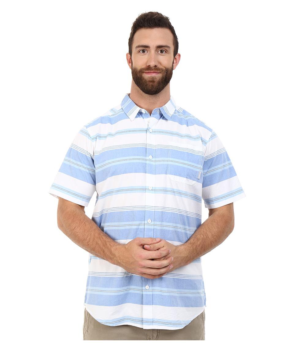 Columbia - Plus Size Thompson Hill II Yarn Dye Shirt (Super Blue Stripe) Men's Short Sleeve Button Up