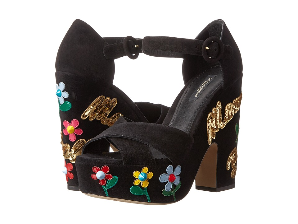 Dolce & Gabbana - Wedge Sandal (Nero/Multicolor) Women's Toe Open Shoes