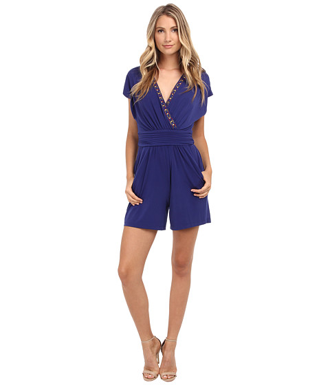 Sangria - Beaded V-Neck Romper with Pockets (Atlantic) Women's Jumpsuit & Rompers One Piece