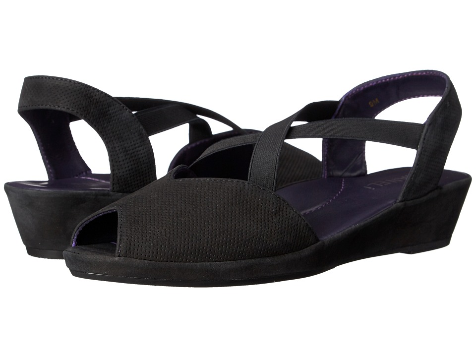 Vaneli - Dolby (Black Perf Soft Nabuk/Black Soft Nabuk/Black Elastic) Women's Sandals