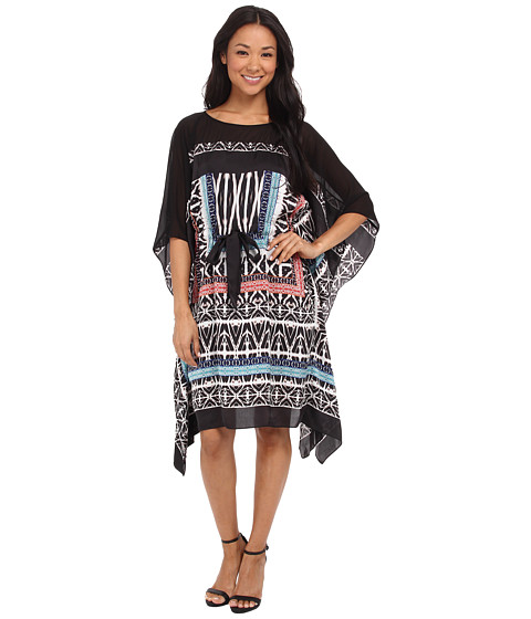 Sangria - Tribal Print Caftan (Black/Multi) Women