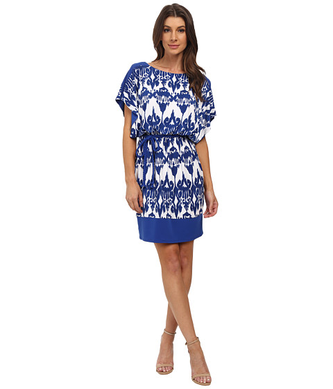 Sangria - Ikat Print Blouson Shift with Bradied Belt (Blue/White) Women