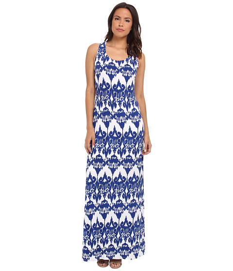 Sangria - Ikat Print Side Slit Maxi (Blue/White) Women's Dress