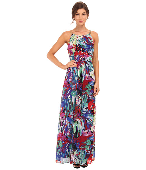 Sangria - Floral Print Maxi with Chain Straps (Multi) Women's Dress
