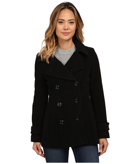 Anne Klein - Double Breasted Peacoat (Black) Women's Clothing
