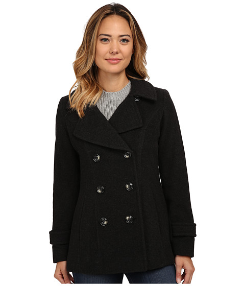 Anne Klein - Double Breasted Peacoat (Charcoal) Women's Clothing