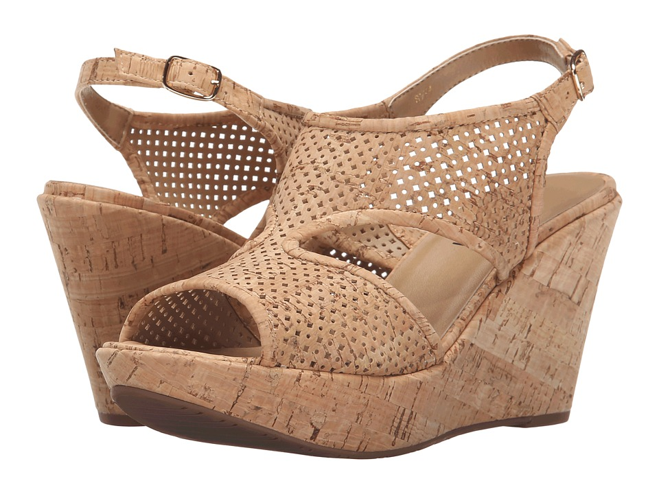 Vaneli - Eleni (Natural Cork/Gold Buckle) Women's Wedge Shoes
